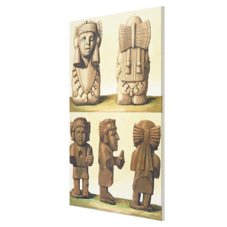 Aztec Idols, Mexico (colour lithograph) Canvas Print