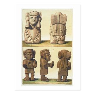Aztec Idols, Mexico (colour lithograph) Postcard