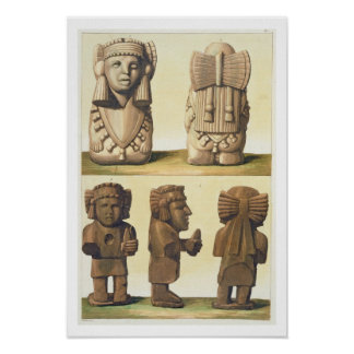Aztec Idols, Mexico (colour lithograph) Poster