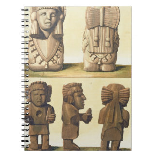 Aztec Idols, Mexico (colour lithograph) Spiral Notebooks