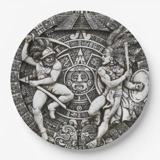 Aztec Indians Decor Spanish Conquistadors 9 Inch Paper Plate