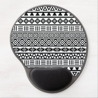 Aztec Influence Pattern Black on White Gel Mouse Mat