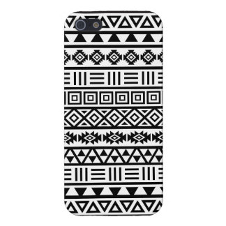 Aztec Influence Pattern Black on White iPhone 5/5S Case