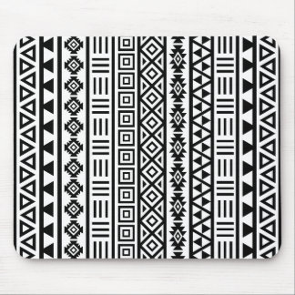 Aztec Influence Pattern Black on White Mouse Mat