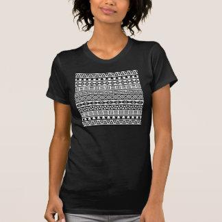 Aztec Influence Pattern Black on White T-Shirt