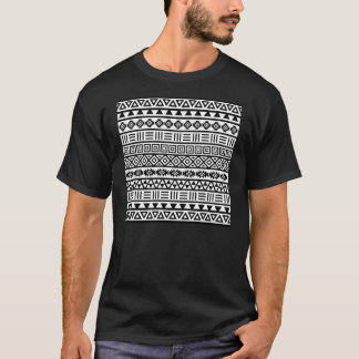 Aztec Influence Pattern Black on White T-Shirt