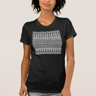 Aztec Influence Pattern Black on White Shirt