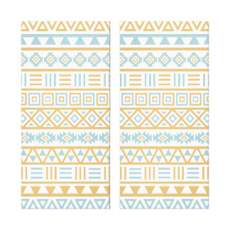 Aztec Influence Pattern Blue Gold White Canvas Print