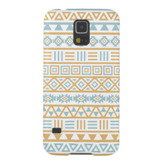 Aztec Influence Pattern Blue Gold White Galaxy S5 Case
