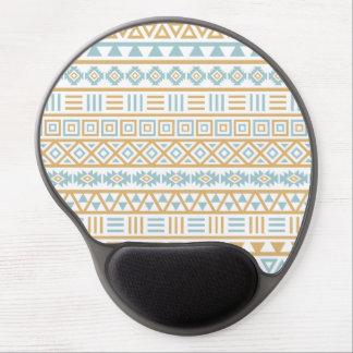 Aztec Influence Pattern Blue Gold White Gel Mouse Mat