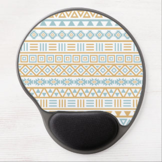 Aztec Influence Pattern Blue Gold White Gel Mouse Pad