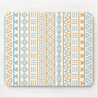 Aztec Influence Pattern Blue Gold White Mouse Pads