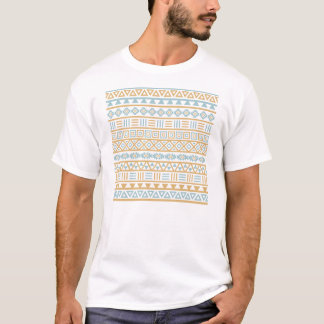 Aztec Influence Pattern Blue Gold White T-Shirt