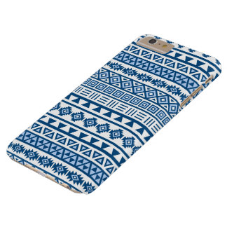 Aztec Influence Repeat Pattern Blues on White Barely There iPhone 6 Plus Case