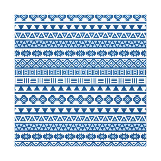 Aztec Influence Repeat Pattern Blues on White Canvas Print
