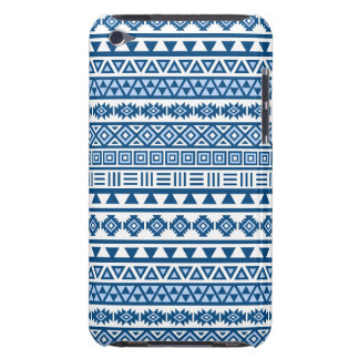 Aztec Influence Repeat Pattern Blues on White iPod Case-Mate Cases