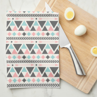 Aztec Inspired Coral and Mint Pattern Tea Towel