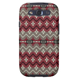 Aztec Inspired Maroon and Grey Galaxy SIII Cases