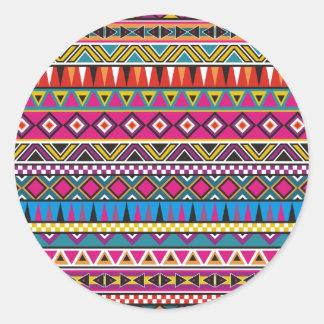 Aztec inspired pattern classic round sticker