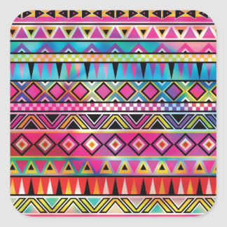 Aztec inspired pattern square sticker