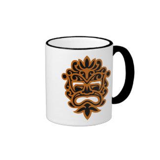 Aztec Mask Design – brown Ringer Mug