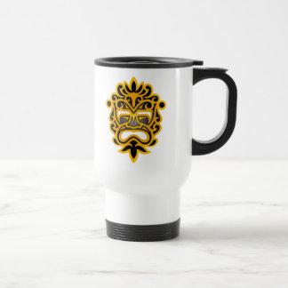 Aztec Mask Design – yellow and black Stainless Steel Travel Mug