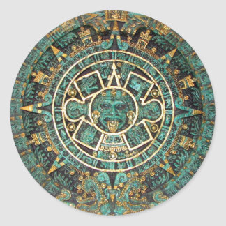 Aztec Mayan Ancient Round Disc Calendar Round Sticker