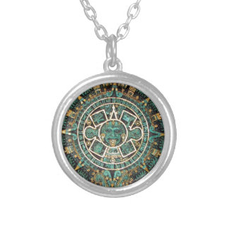 Aztec Mayan Ancient Round Disc Calendar Silver Plated Necklace