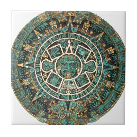 Aztec Mayan Ancient Round Disc Calendar Small Square Tile