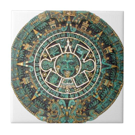 Aztec Mayan Ancient Round Disc Calendar Tile