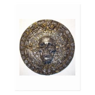Aztec/Mayan Skull Warrior Calendar Postcard
