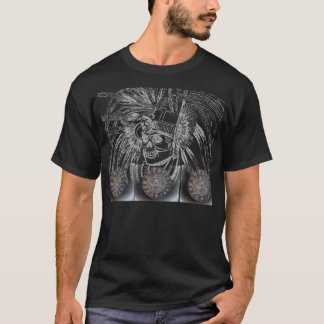 aztec/mayan skull warrior with sun dials t-shirt