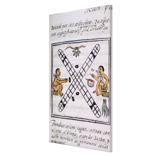 Aztec men gambling Patoli Canvas Print