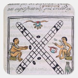 Aztec men gambling Patoli Square Sticker
