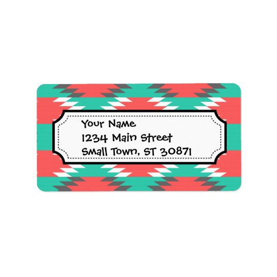 Aztec Native American Turquoise and Pink Pattern Address Label
