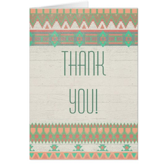 Aztec Native Peach/Aqua Thank You Card