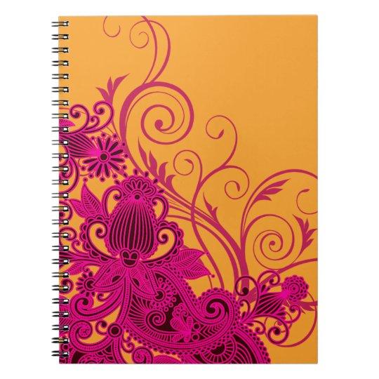 Aztec Paisley bridal planner - fuschia nectarine Notebook