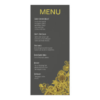 Aztec Paisley Dinner Menu yellow charcoal 4x9.25 Paper Invitation Card