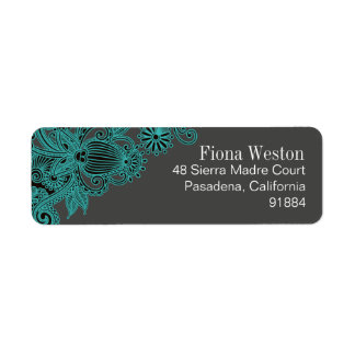 Aztec Paisley - teal charcoal Return Address Label