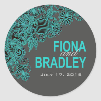Aztec Paisley - teal charcoal Round Sticker