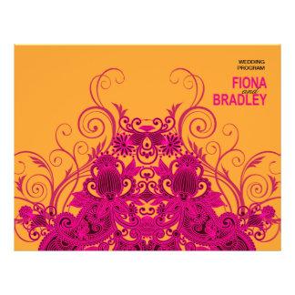 Aztec Paisley Wedding Program fuschia nectarine 21.5 Cm X 28 Cm Flyer