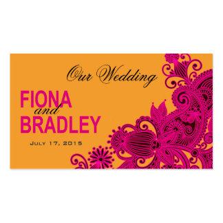 Aztec Paisley Wedding Website fuschia nectarine Business Card Template