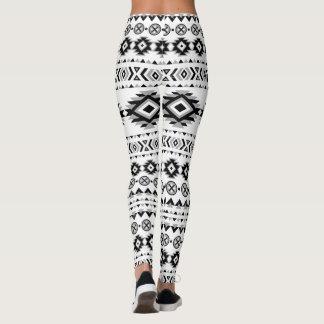 Aztec Pattern Black and White Leggings