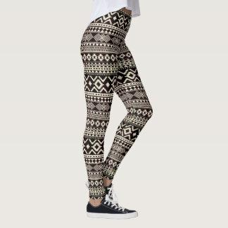 Aztec pattern stylish black and white leggings