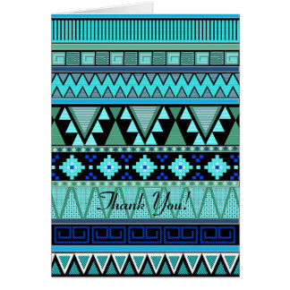 Aztec patterns blue/mint/green Thank You card