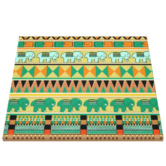 Aztec Patterns with little Elephants Wrapped Canva Canvas Print