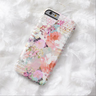 Aztec Pink Teal Watercolor Chic Floral Pattern Barely There iPhone 6 Case