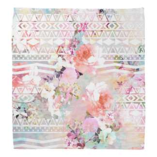 Aztec Pink Teal Watercolor Chic Floral Pattern Kerchief