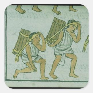 Aztec porters, from the 'Florentine Codex' Square Sticker
