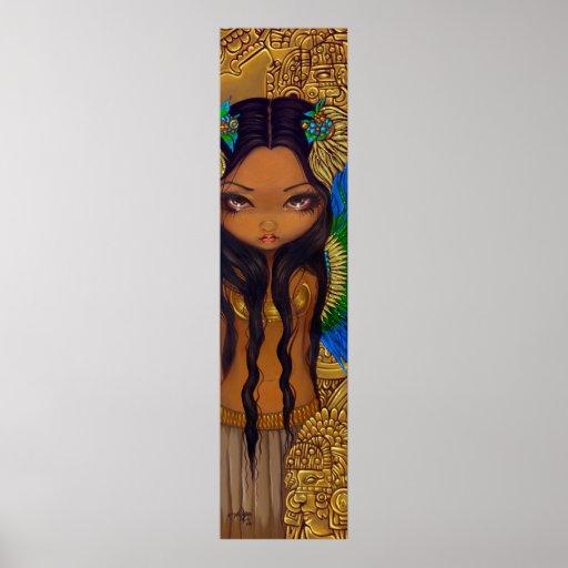 Aztec Princess ART PRINT Mayan Big Eye Art
